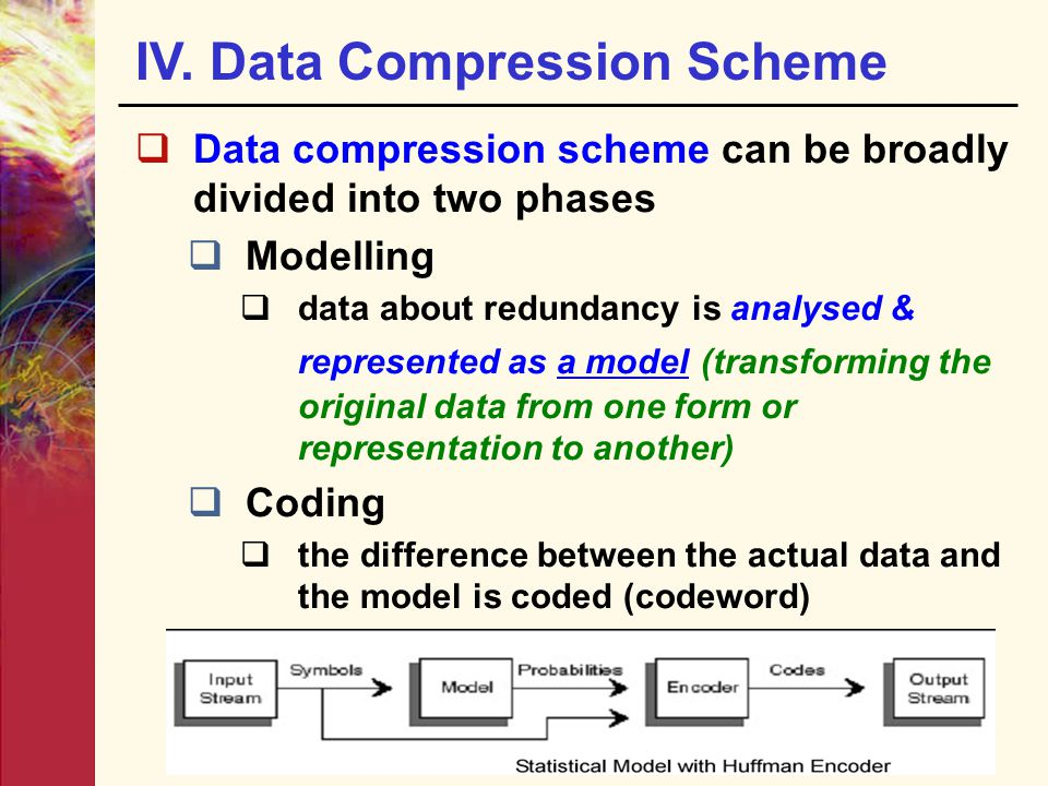  Data compression scheme can be broadly divided into two phases  Modelling  data about redundancy is analysed & represented as a model (transforming the original data from one form or representation to another)‏  Coding  the difference between the actual data and the model is coded (codeword) IV.