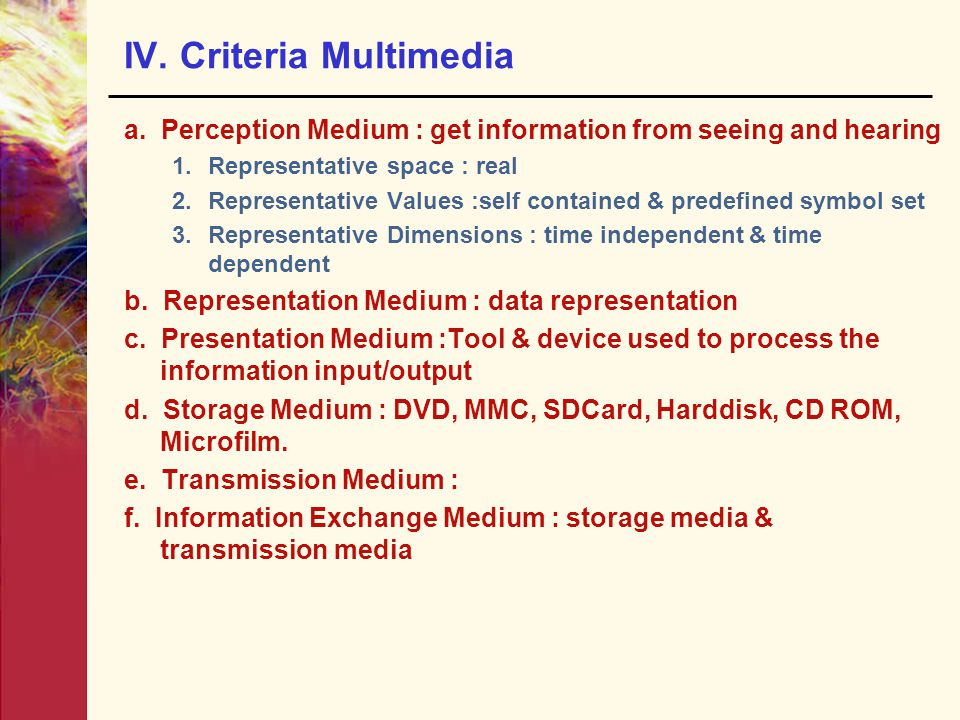 IV. Criteria Multimedia a. Perception Medium : get information from seeing and hearing 1.Representative space : real 2.Representative Values :self con