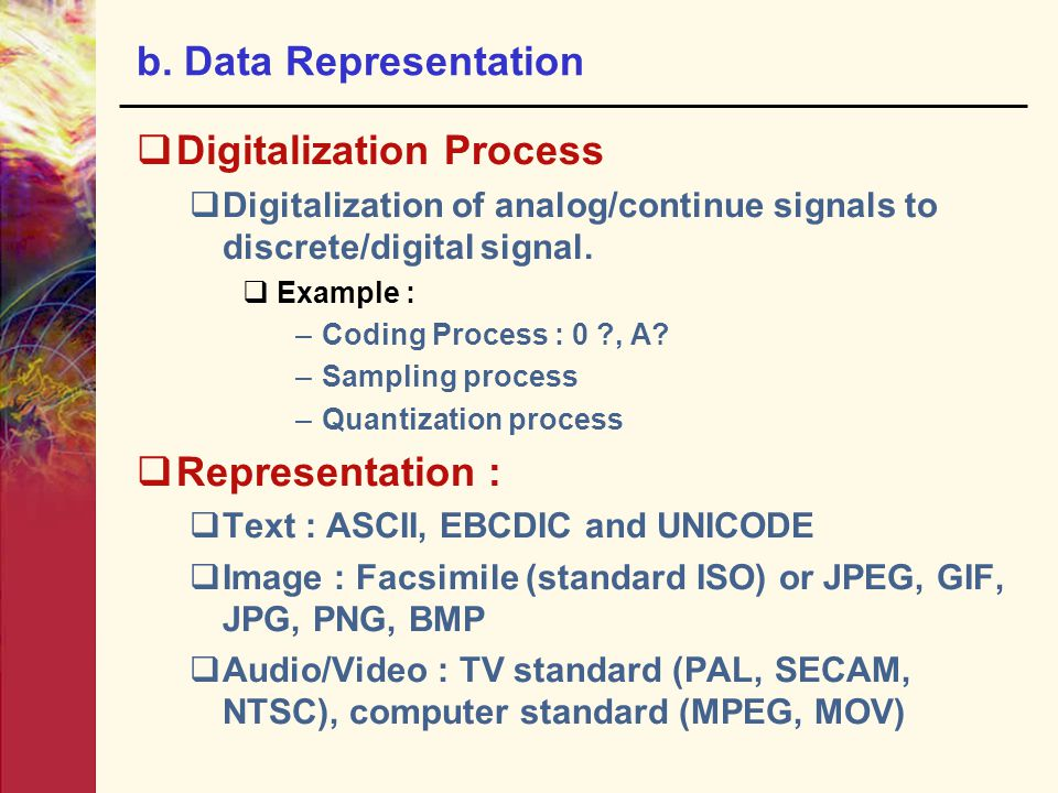 b. Data Representation  Digitalization Process  Digitalization of analog/continue signals to discrete/digital signal.  Example : –Coding Process :