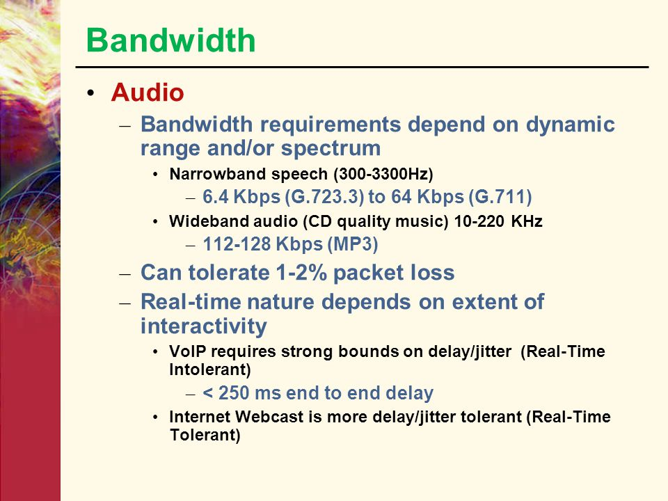 Bandwidth Text – Bandwidth requirements depend on size Can be easily reduced by compression techniques – Some text applications require complete freed