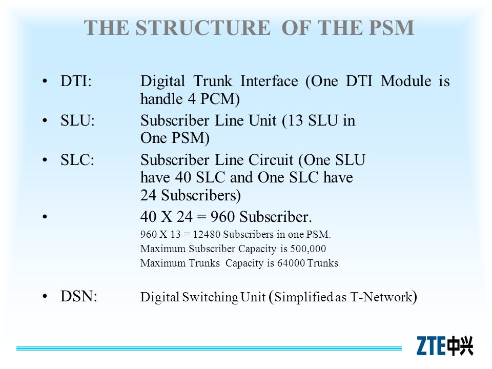 THE STRUCTURE OF THE PSM DTI:Digital Trunk Interface (One DTI Module is handle 4 PCM) SLU:Subscriber Line Unit (13 SLU in One PSM) SLC:Subscriber Line