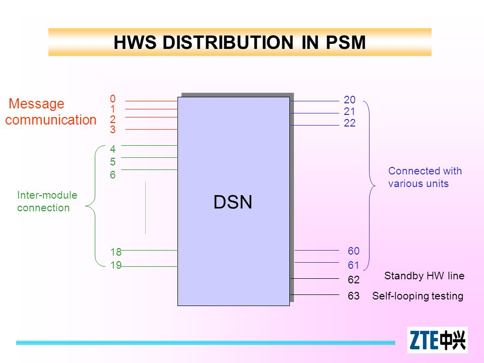 HWS DISTRIBUTION IN PSM DSN 01230123 Message communication 4 5 6 18 19 Inter-module connection 63 62 Self-looping testing Standby HW line 20 21 22 60