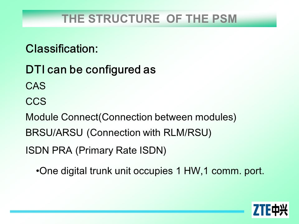 THE STRUCTURE OF THE PSM Classification: DTI can be configured as CAS CCS Module Connect(Connection between modules) BRSU/ARSU (Connection with RLM/RS