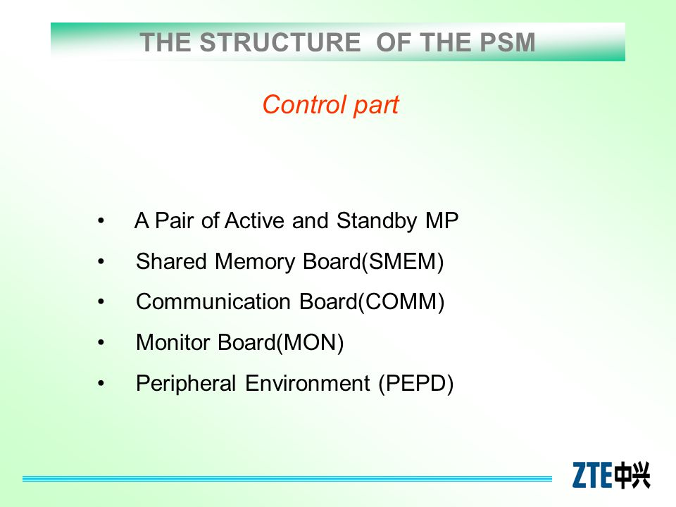 THE STRUCTURE OF THE PSM Control part A Pair of Active and Standby MP Shared Memory Board(SMEM) Communication Board(COMM) Monitor Board(MON) Periphera