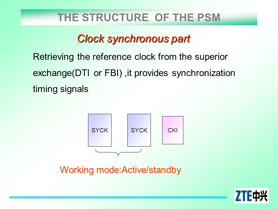 THE STRUCTURE OF THE PSM Clock synchronous part Retrieving the reference clock from the superior exchange(DTI or FBI),it provides synchronization timi