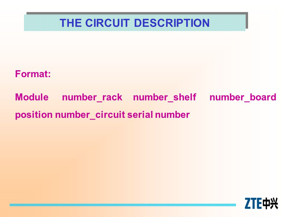 THE CIRCUIT DESCRIPTION Format: Module number_rack number_shelf number_board position number_circuit serial number