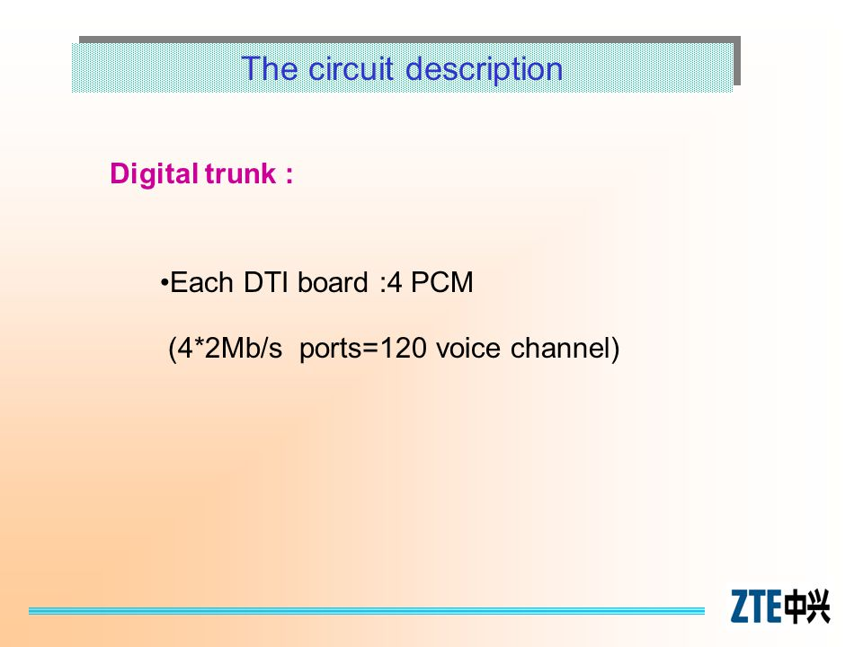 The circuit description Digital trunk : Each DTI board :4 PCM (4*2Mb/s ports=120 voice channel)