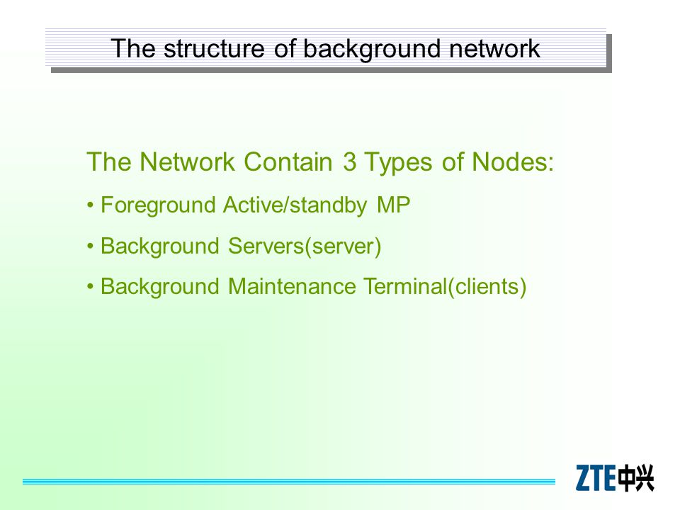 The Network Contain 3 Types of Nodes: Foreground Active/standby MP Background Servers(server) Background Maintenance Terminal(clients) The structure o
