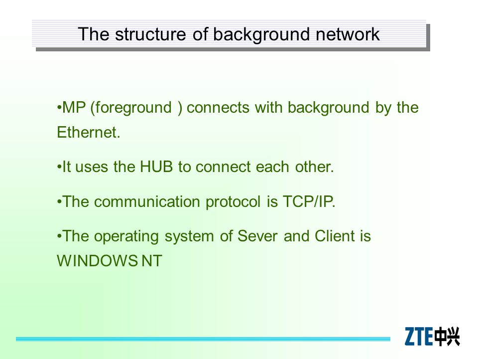 MP (foreground ) connects with background by the Ethernet. It uses the HUB to connect each other. The communication protocol is TCP/IP. The operating