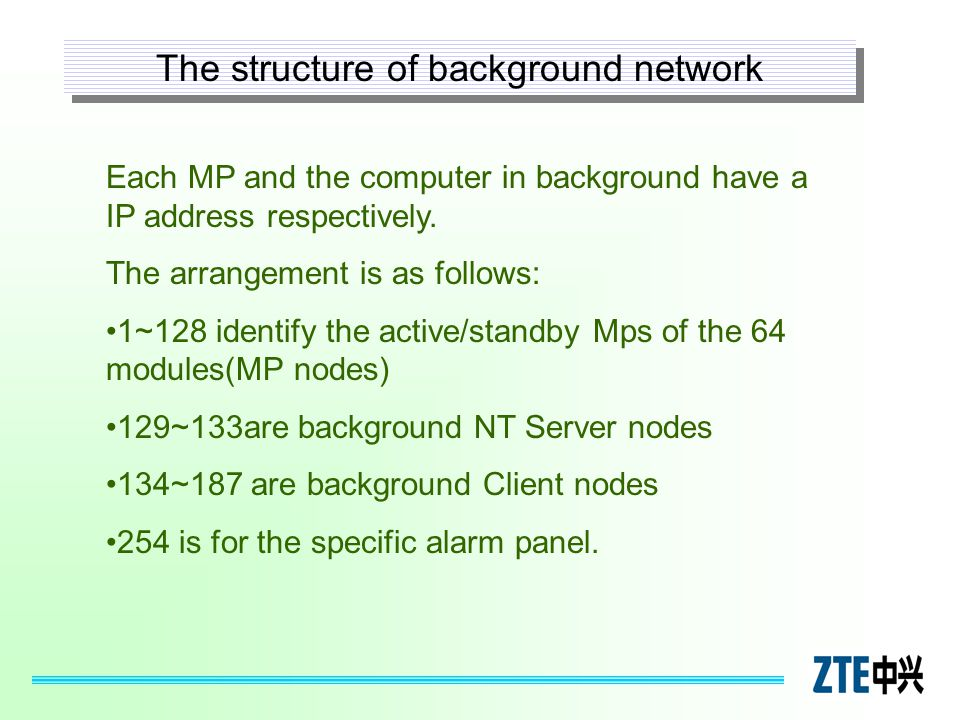 The structure of background network Each MP and the computer in background have a IP address respectively. The arrangement is as follows: 1~128 identi
