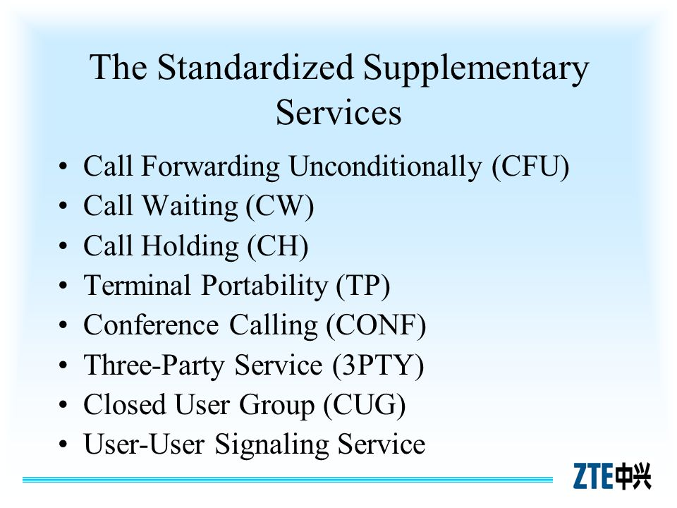 The Standardized Supplementary Services Call Forwarding Unconditionally (CFU) Call Waiting (CW) Call Holding (CH) Terminal Portability (TP) Conference