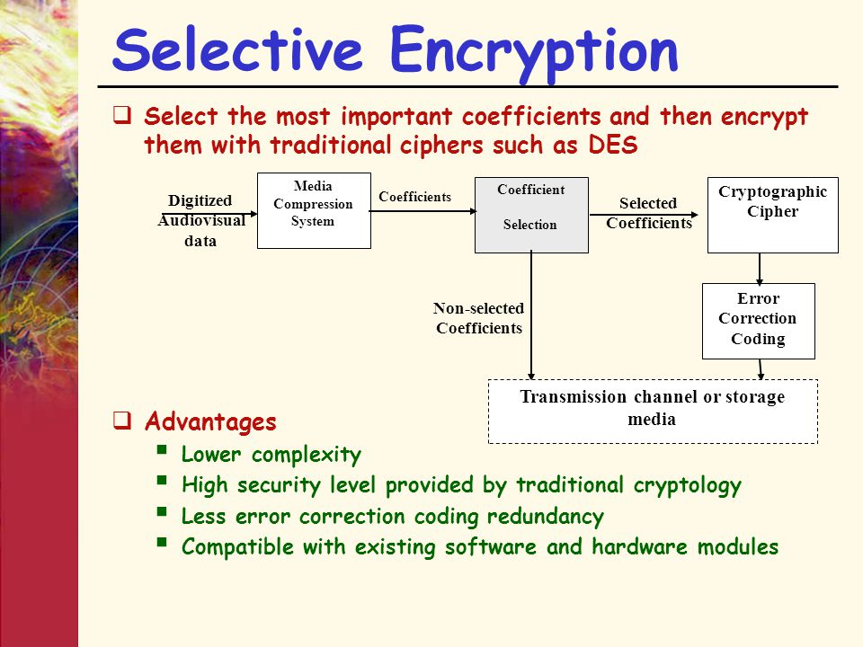 Selective Encryption  Select the most important coefficients and then encrypt them with traditional ciphers such as DES  Advantages  Lower complexi