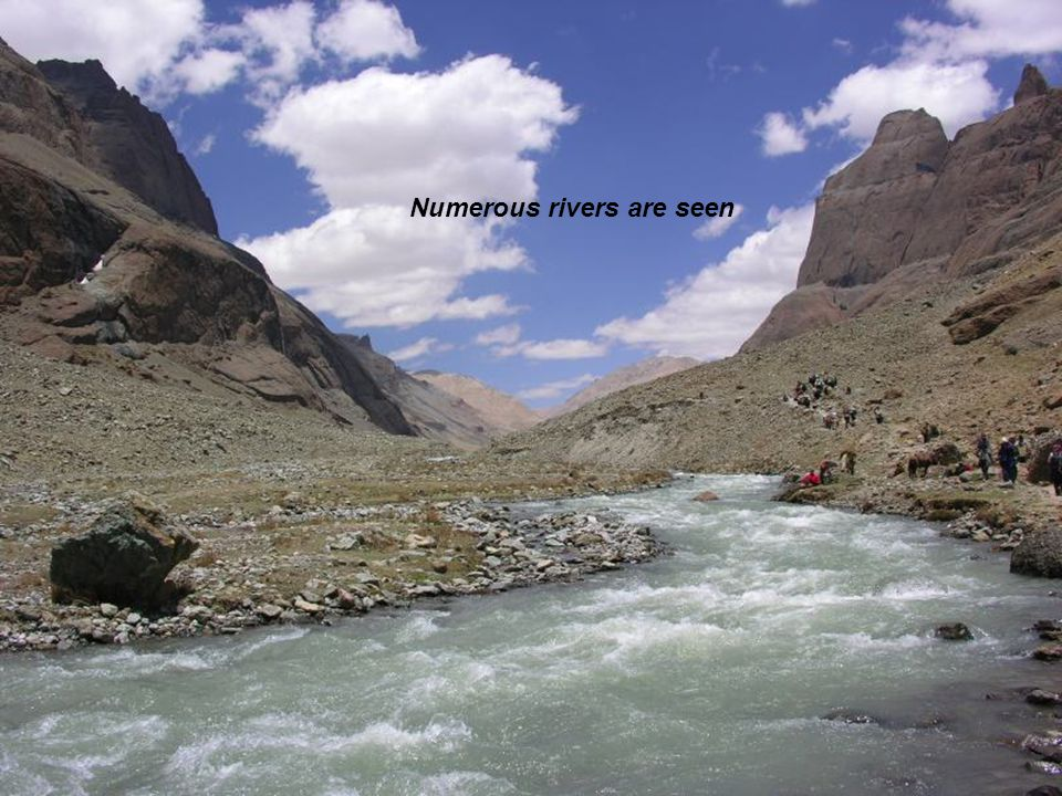 Numerous rivers are seen