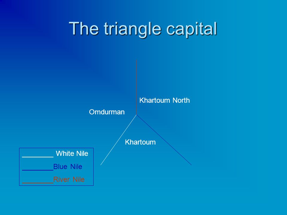 The triangle capital Khartoum Khartoum North Omdurman ________ White Nile ________Blue Nile ________River Nile