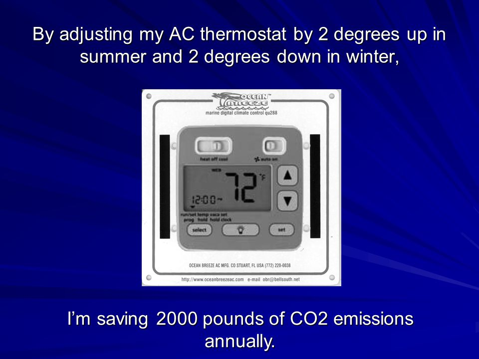 By adjusting my AC thermostat by 2 degrees up in summer and 2 degrees down in winter, I'm saving 2000 pounds of CO2 emissions annually.