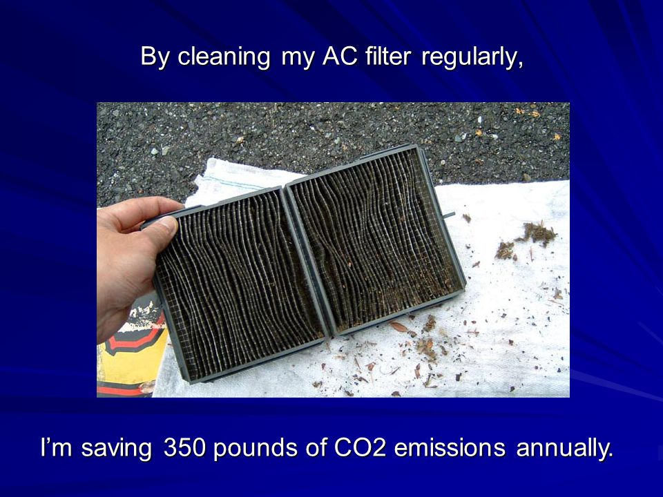 By cleaning my AC filter regularly, I'm saving 350 pounds of CO2 emissions annually.