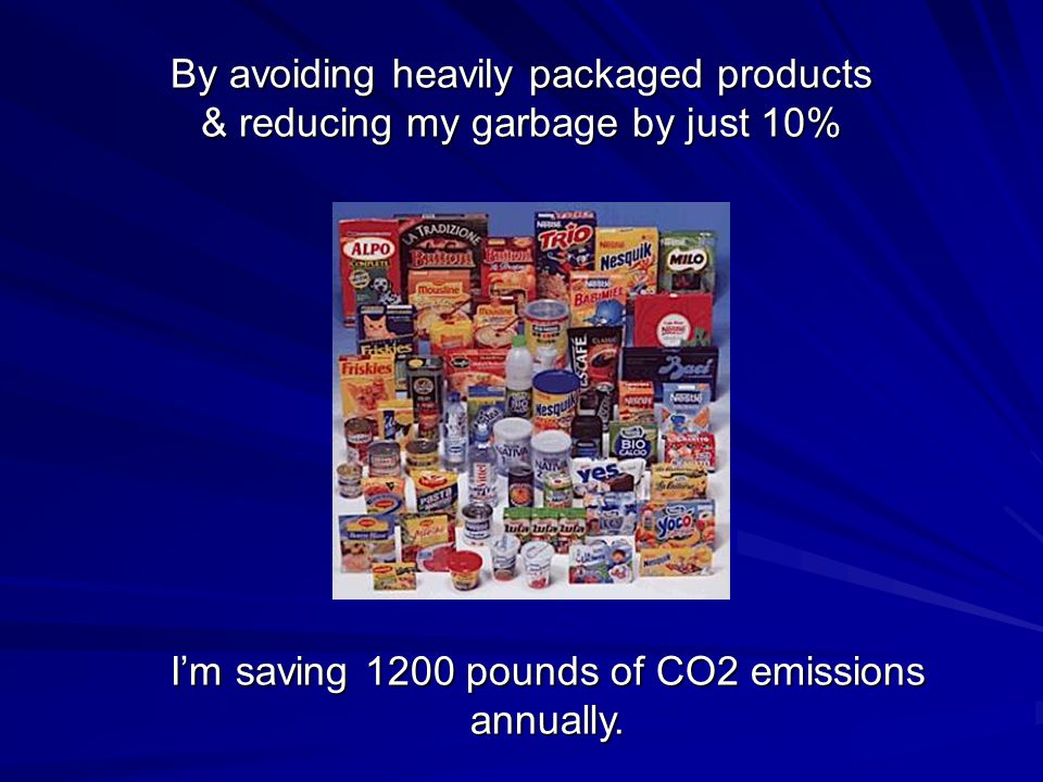 By avoiding heavily packaged products & reducing my garbage by just 10% I'm saving 1200 pounds of CO2 emissions annually.