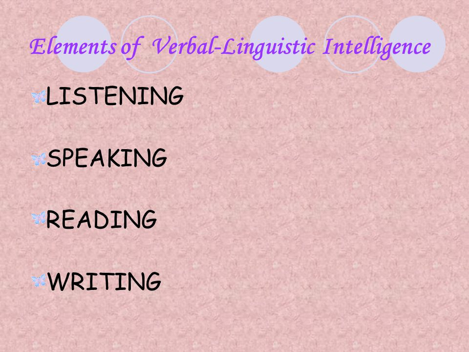 Elements of Verbal-Linguistic Intelligence LISTENING SPEAKING READING WRITING