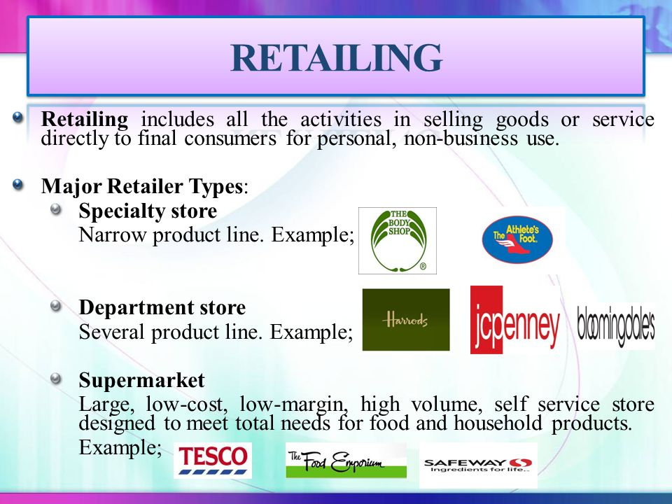 Retailing includes all the activities in selling goods or service directly to final consumers for personal, non-business use.