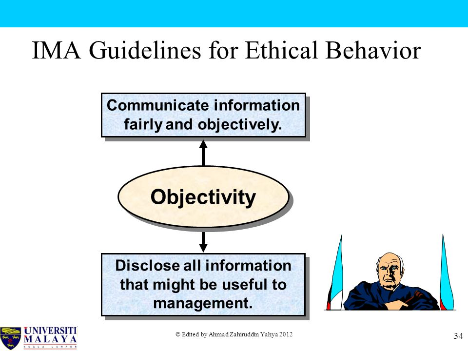 © Edited by Ahmad Zahiruddin Yahya 2012 34 IMA Guidelines for Ethical Behavior Communicate information fairly and objectively.