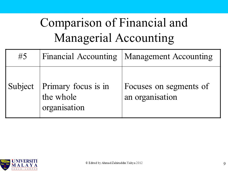 © Edited by Ahmad Zahiruddin Yahya 2012 9 Comparison of Financial and Managerial Accounting #5Financial AccountingManagement Accounting SubjectPrimary focus is in the whole organisation Focuses on segments of an organisation