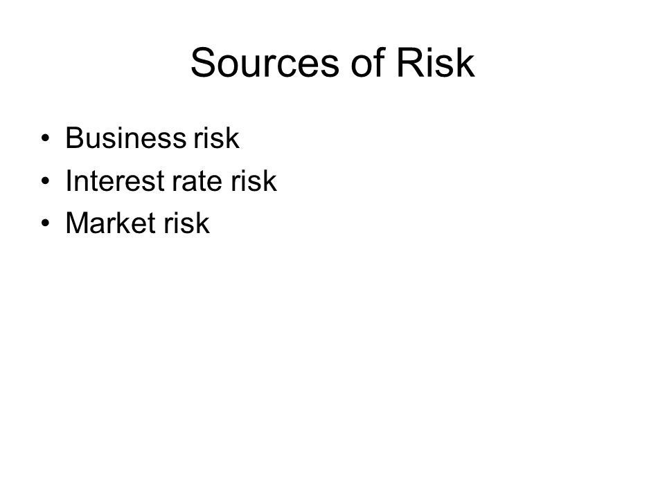 Sources of Risk Business risk Interest rate risk Market risk