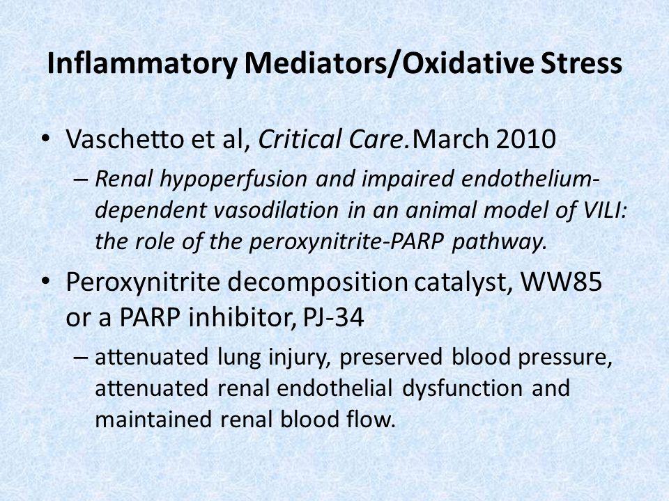 Inflammatory Mediators/Oxidative Stress Vaschetto et al, Critical Care.March 2010 – Renal hypoperfusion and impaired endothelium- dependent vasodilati