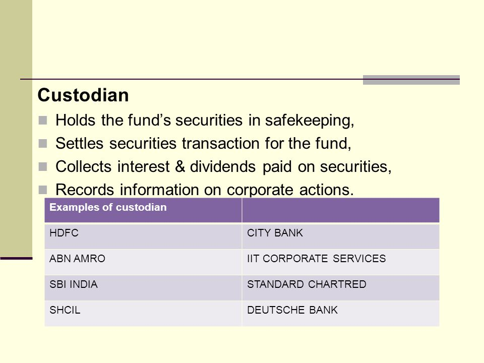 Asset Management Company Floats schemes & manages according to SEBI.