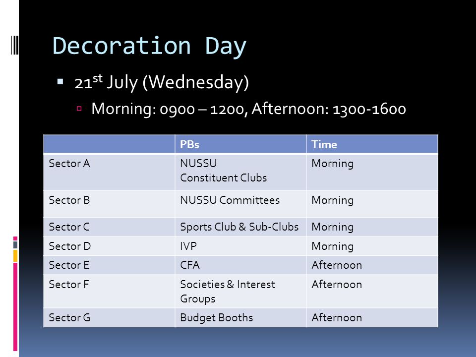 Decoration Day  21 st July (Wednesday)  Morning: 0900 – 1200, Afternoon: 1300-1600 PBsTime Sector ANUSSU Constituent Clubs Morning Sector BNUSSU CommitteesMorning Sector CSports Club & Sub-ClubsMorning Sector DIVPMorning Sector ECFAAfternoon Sector FSocieties & Interest Groups Afternoon Sector GBudget BoothsAfternoon