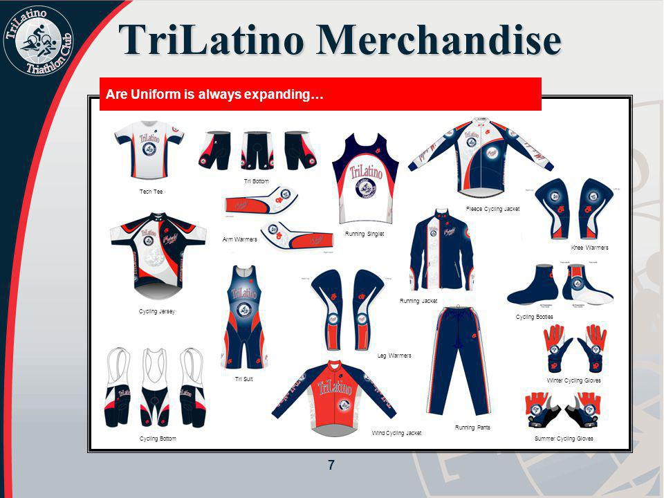 7 TriLatino Merchandise Are Uniform is always expanding… Tech Tee Cycling Jersey Cycling Bottom Tri Suit Arm Warmers Running Singlet Leg Warmers Wind