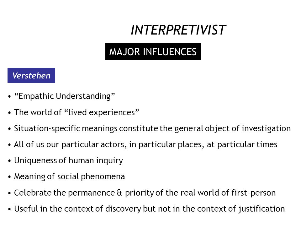 INTERPRETIVIST SOCIAL SCIENCE EPISTEMOLOGY TRANSACTIONAL & SUBJECTIVE Researcher and the researched are interactively linked Co-construction of knowle