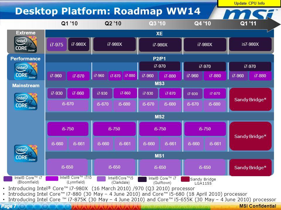 ConfidentialPage 10 MSI Confidential Desktop Platform: Roadmap WW14 Introducing Intel ® Core™ i7-980X (16 March 2010) /970 (Q3 2010) processor Introducing Intel Core™ i7-880 (30 May – 4 June 2010) and Core™ i5-680 (18 April 2010) processor Introducing Intel Core ™ i7-875K (30 May – 4 June 2010) and Core™ i5-655K (30 May – 4 June 2010) processor Update CPU Info Page 7 Extreme Mainstream Performance Intel® Core™ i7 (Bloomfield) Intel® Core™ i7/i5 (Lynnfield) XE Q1 '10Q2 '10Q3 '10Q4 '10 P2/P1 MS2 MS1 MS3 i5-670 Intel®Core™i5 (Clarkdale) i5-650 i7-975 Q1 '11 i5-650 i7-980X Intel® Core™ i7 (Gulftown) i5-650 i7-960 i7-880 i7-980X i7-960 i7-870 i7-930 i7-860 i5-660 i5-750 i5-670 i5-750 i5-661i5-660i5-661i5-660i5-661 i5-650 i7-960 i7-880 i7-980X i7-930 i7-870 i5-660i5-661 i7-980X i7-970 Sandy Bridge* Sandy Bridge LGA1155 ≥i7-980X i7-970 i5-680 i5-670 i5-680 i5-670 i5-680 i7-880 i7-930 i7-870 i7-930 i7-860 i5-750 i7-960 i7-880 i7-870