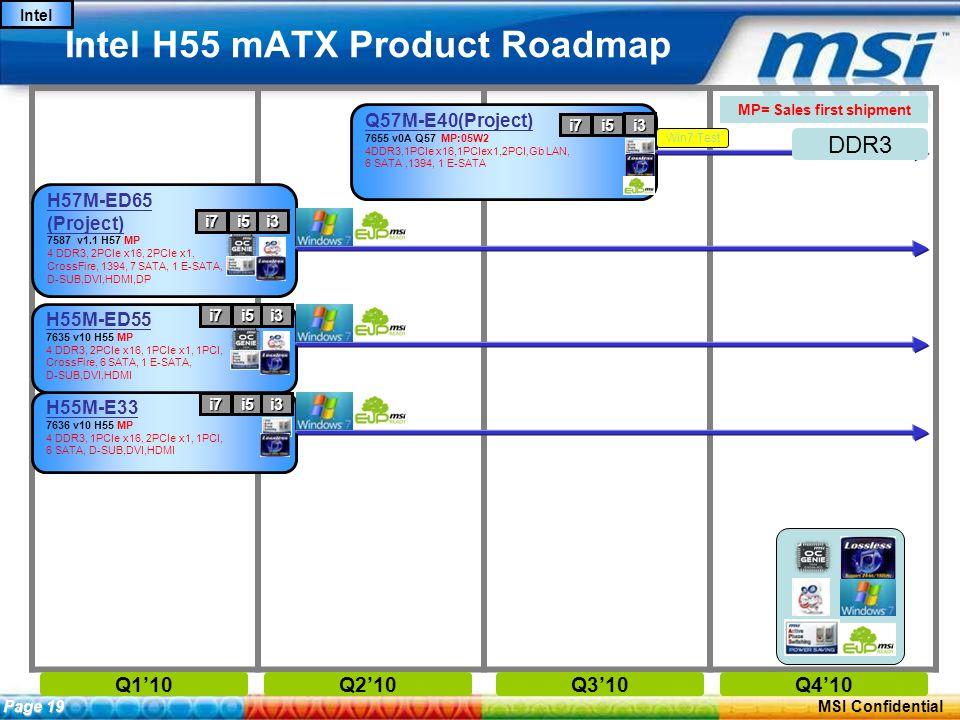 ConfidentialPage 18 MSI Confidential Intel H55 mATX Product Roadmap Q1'10Q2'10Q3'10Q4'10 MP= Sales first shipment Page 19 Intel H55M-E33 7636 v10 H55 MP 4 DDR3, 1PCIe x16, 2PCIe x1, 1PCI, 6 SATA, D-SUB,DVI,HDMI H55M-ED55 7635 v10 H55 MP 4 DDR3, 2PCIe x16, 1PCIe x1, 1PCI, CrossFire, 6 SATA, 1 E-SATA, D-SUB,DVI,HDMI H57M-ED65 (Project) 7587 v1.1 H57 MP 4 DDR3, 2PCIe x16, 2PCIe x1, CrossFire, 1394, 7 SATA, 1 E-SATA, D-SUB,DVI,HDMI,DP i7i5i3 i7i5i3 i7i5i3 Q57M-E40(Project) 7655 v0A Q57 MP:05W2 4DDR3,1PCIe x16,1PCIex1,2PCI,Gb LAN, 6 SATA,1394, 1 E-SATA i7i5 i3 DDR3 Win7 Test