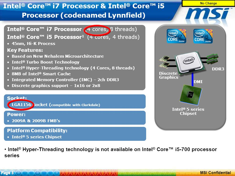 ConfidentialPage 4 MSI Confidential Intel ® Core™ i7 Processor & Intel ® Core™ i5 Processor (codenamed Lynnfield) Intel ® Hyper-Threading technology is not available on Intel ® Core™ i5-700 processor series Intel ® Core™ i7 Processor (4 cores, 8 threads) Intel ® Core™ i5 Processor 1 (4 cores, 4 threads) 45nm, Hi-K Process Key Features: Based on New Nehalem Microarchitecture Intel ® Turbo Boost Technology Intel ® Hyper-Threading technology (4 Cores, 8 threads) 8MB of Intel ® Smart Cache Integrated Memory Controller (IMC) – 2ch DDR3 Discrete graphics support – 1x16 or 2x8 Intel ® Core™ i7 Processor (4 cores, 8 threads) Intel ® Core™ i5 Processor 1 (4 cores, 4 threads) 45nm, Hi-K Process Key Features: Based on New Nehalem Microarchitecture Intel ® Turbo Boost Technology Intel ® Hyper-Threading technology (4 Cores, 8 threads) 8MB of Intel ® Smart Cache Integrated Memory Controller (IMC) – 2ch DDR3 Discrete graphics support – 1x16 or 2x8 Power: 2009A & 2009B FMB's Socket: LGA1156 Socket ( compatible with Clarkdale) Platform Compatibility: Intel ® 5 series Chipset DMI Discrete Graphics DDR3 Page 5 No Change