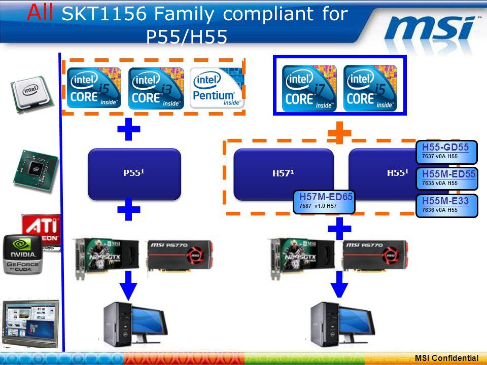 ConfidentialPage 8 MSI Confidential All SKT1156 Family compliant for P55/H55 P55 1 H57 1 H55 1 H55M-E33 7636 v0A H55 H55M-ED55 7635 v0A H55 H57M-ED65 7587 v1.0 H57 H55-GD55 7637 v0A H55