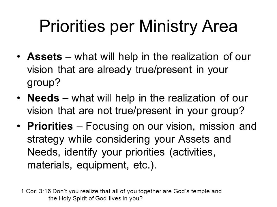 Priorities per Ministry Area Assets – what will help in the realization of our vision that are already true/present in your group.