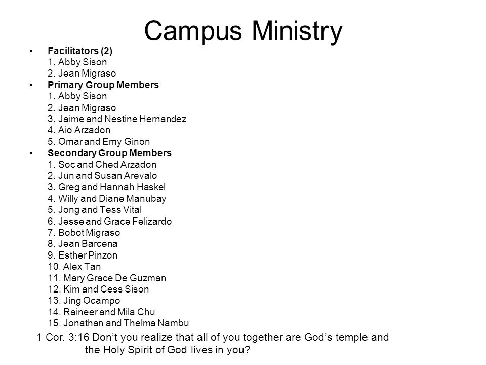 Campus Ministry Facilitators (2) 1. Abby Sison 2.