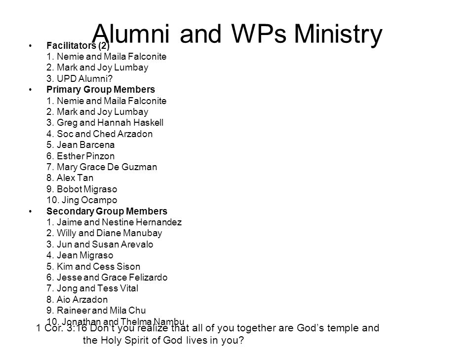 Alumni and WPs Ministry Facilitators (2) 1. Nemie and Maila Falconite 2. Mark and Joy Lumbay 3. UPD Alumni? Primary Group Members 1. Nemie and Maila F