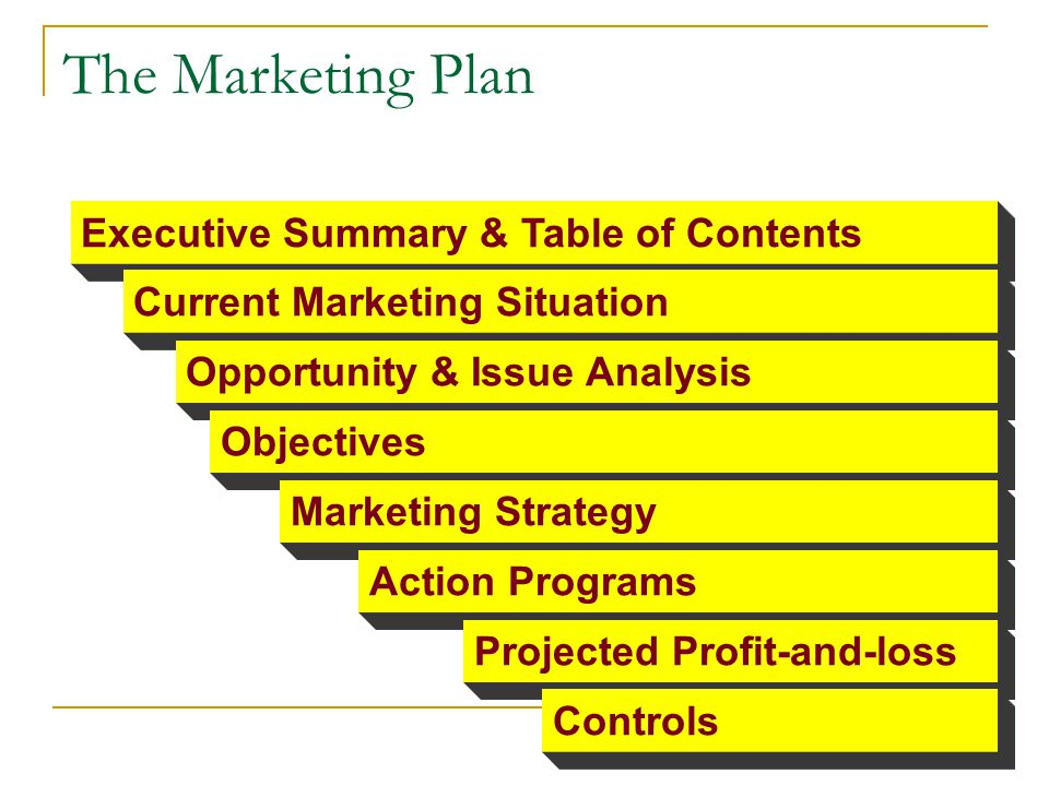 The Marketing Plan Executive Summary & Table of Contents Current Marketing Situation Opportunity & Issue Analysis Objectives Marketing Strategy Action