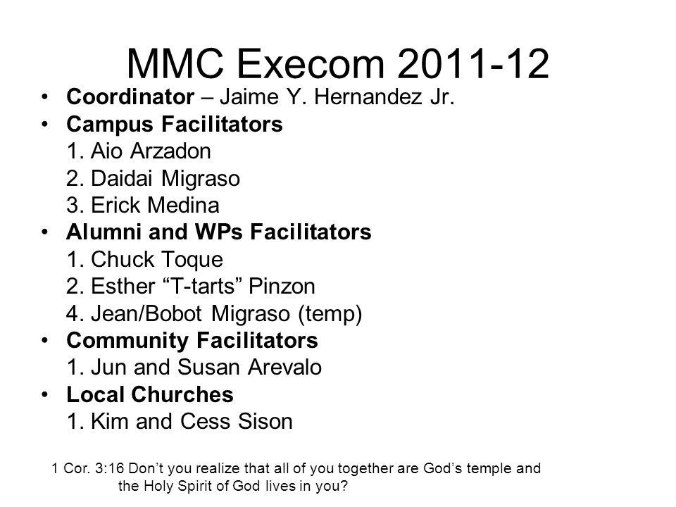 MMC Execom 2011-12 Coordinator – Jaime Y. Hernandez Jr.