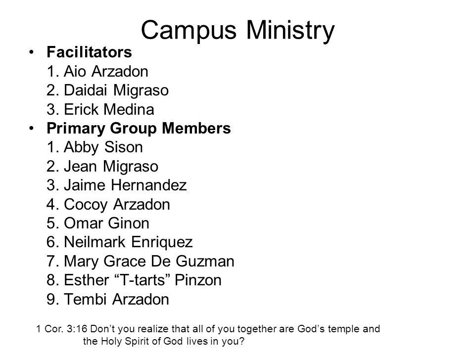 Campus Ministry Facilitators 1. Aio Arzadon 2. Daidai Migraso 3.