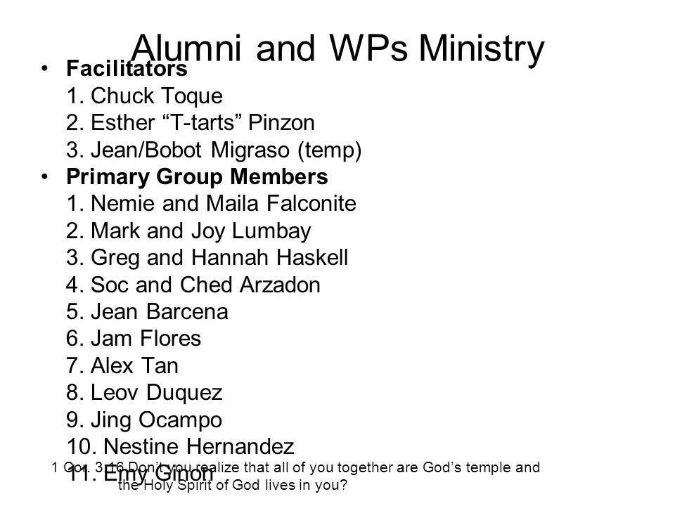 Alumni and WPs Ministry Facilitators 1. Chuck Toque 2.
