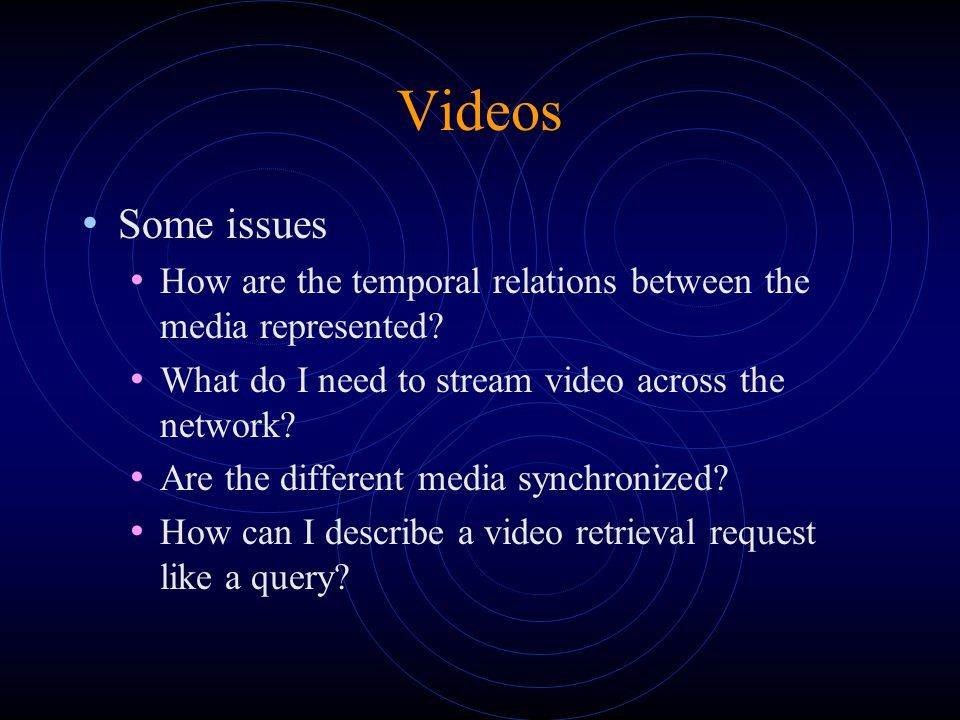 Videos Some issues How are the temporal relations between the media represented.