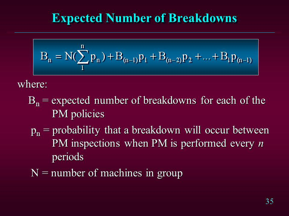 35 Expected Number of Breakdowns where: B n = expected number of breakdowns for each of the PM policies p n = probability that a breakdown will occur