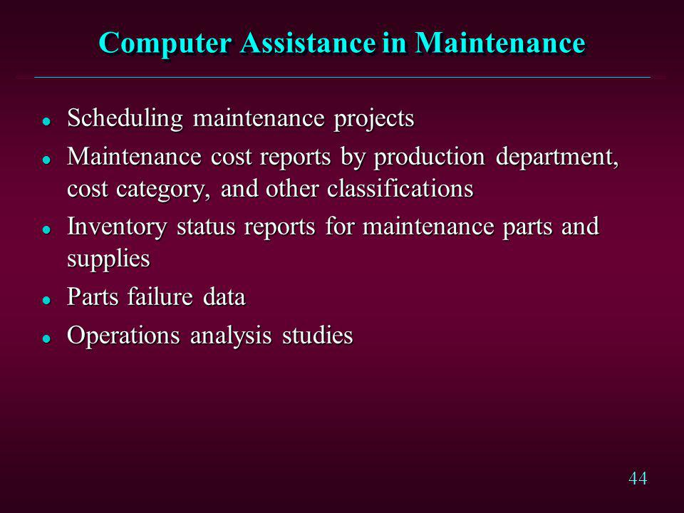 44 Computer Assistance in Maintenance l Scheduling maintenance projects l Maintenance cost reports by production department, cost category, and other