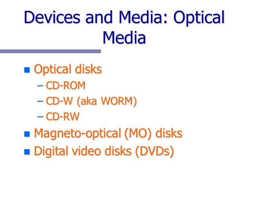 Devices and Media: Optical Media n Optical disks –CD-ROM –CD-W (aka WORM) –CD-RW n Magneto-optical (MO) disks n Digital video disks (DVDs)