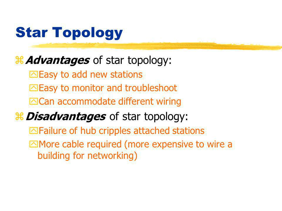 Star Topology zAdvantages of star topology: yEasy to add new stations yEasy to monitor and troubleshoot yCan accommodate different wiring zDisadvantag