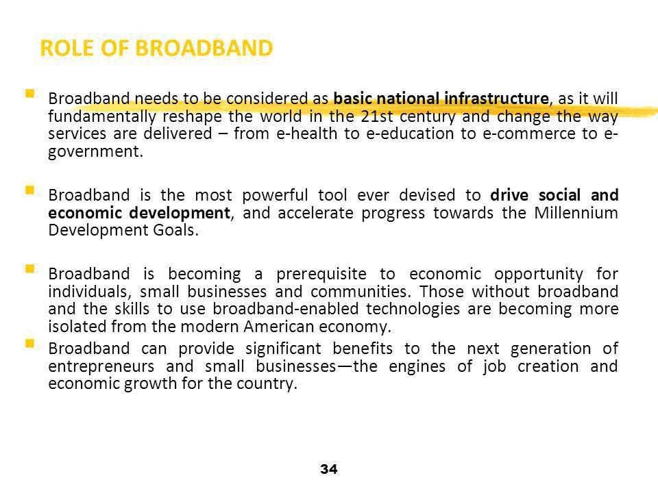 34 ROLE OF BROADBAND  Broadband needs to be considered as basic national infrastructure, as it will fundamentally reshape the world in the 21st centu