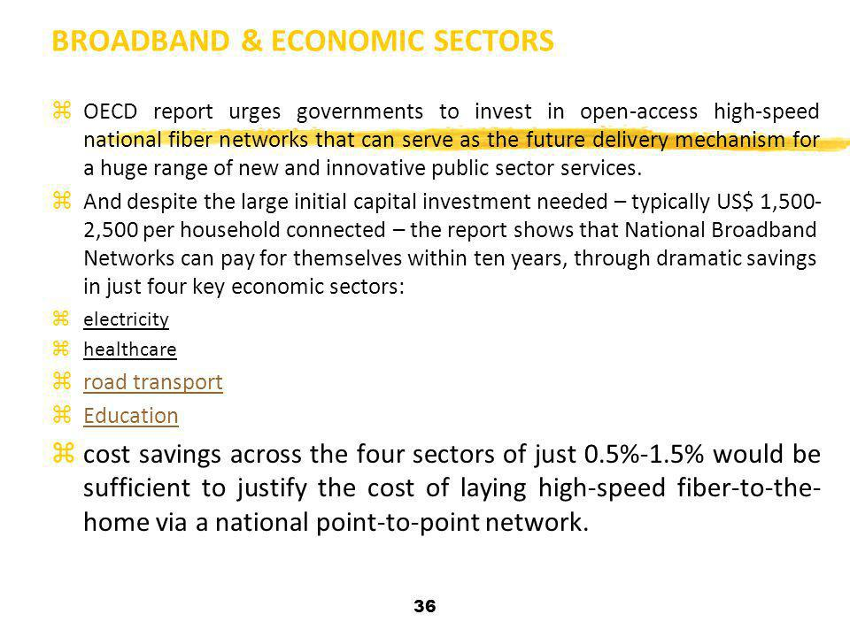 36 BROADBAND & ECONOMIC SECTORS zOECD report urges governments to invest in open-access high-speed national fiber networks that can serve as the futur