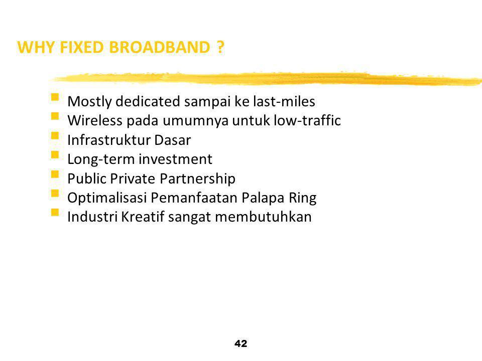 42 WHY FIXED BROADBAND ?  Mostly dedicated sampai ke last-miles  Wireless pada umumnya untuk low-traffic  Infrastruktur Dasar  Long-term investmen